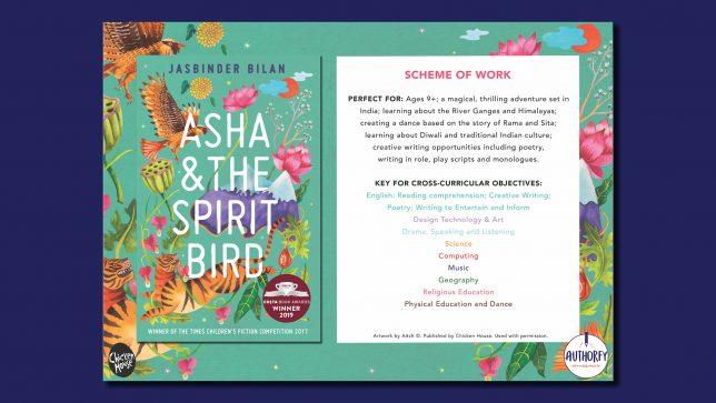Jasbinder Bilan Asha & the Spirit Bird cover page on blue