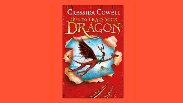 HTTYD book cover on red background